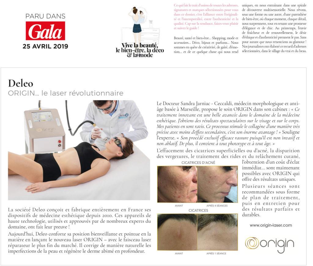 Article de presse magazine GALA, le laser Origin un laser révolutionnaire